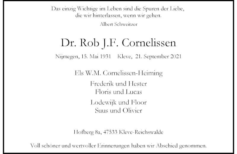 Traueranzeige für Rob JF. Cornelissen vom 02.10.2021 aus Rheinische Post