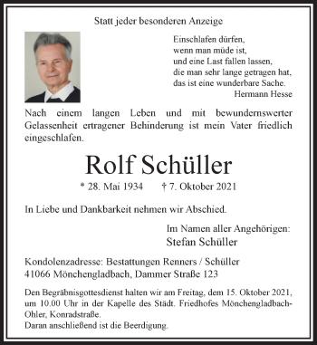Traueranzeige von Rolf Schüller von Rheinische Post