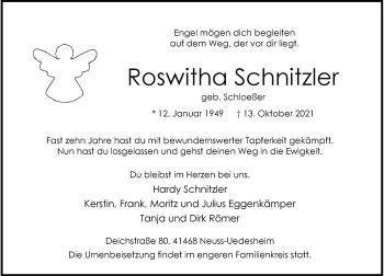 Traueranzeige von Roswitha Schnitzler von Rheinische Post