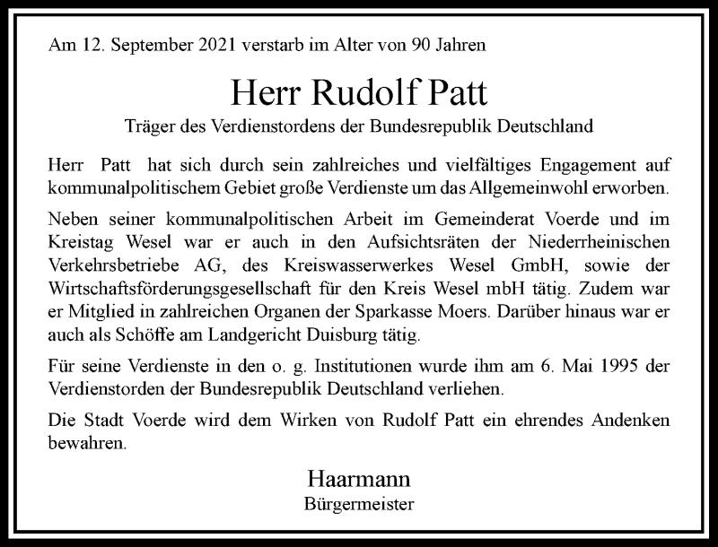 Traueranzeige für Rudolf Patt vom 13.10.2021 aus Rheinische Post