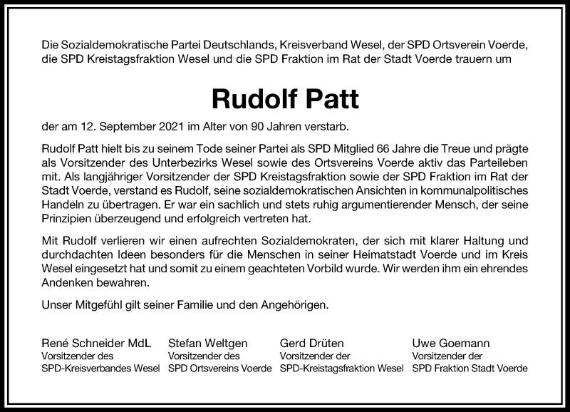 Traueranzeige für Rudolf Patt vom 23.10.2021 aus Rheinische Post