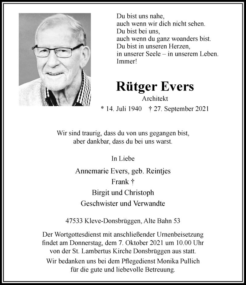 Traueranzeige für Rütger Evers vom 02.10.2021 aus Rheinische Post