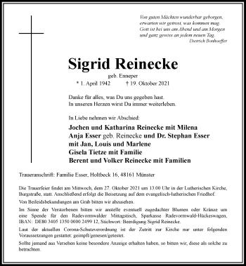 Traueranzeige von Sigrid Reinecke von Rheinische Post