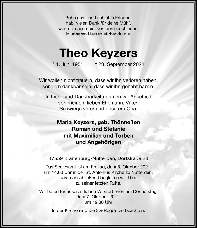 Traueranzeige für Theo Keyzers vom 02.10.2021 aus Rheinische Post