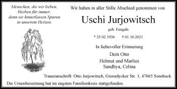 Traueranzeige von Uschi Jurjowitsch von Rheinische Post
