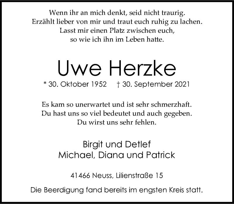 Traueranzeige für Uwe Herzke vom 09.10.2021 aus Rheinische Post