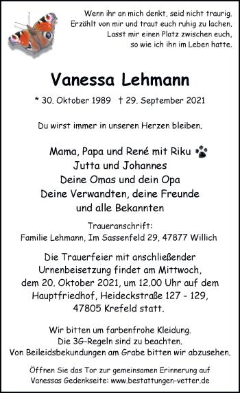 Traueranzeige von Vanessa Lehmann von Rheinische Post