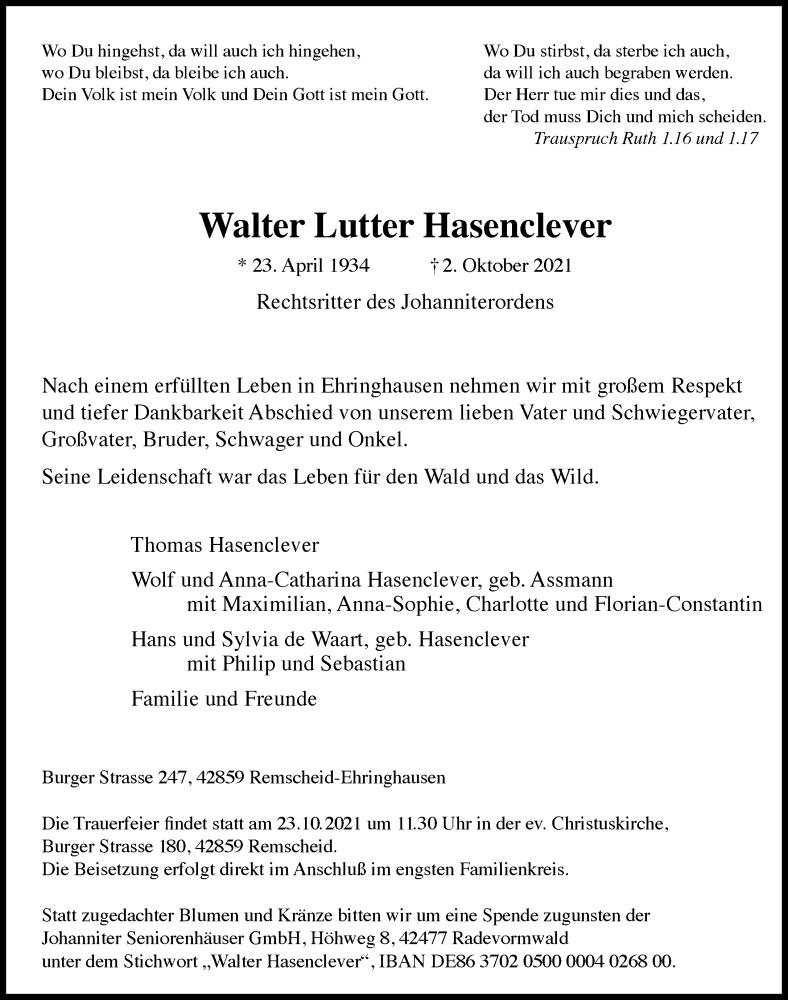 Traueranzeige für Walter Lutter Hasenclever vom 09.10.2021 aus Rheinische Post