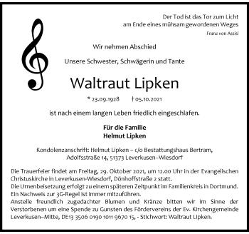 Traueranzeige von Waltraut Lipken von Rheinische Post