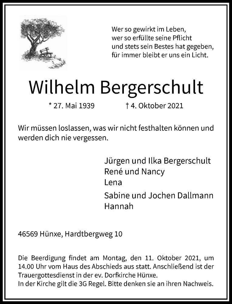 Traueranzeige für Wilhelm Bergerschult vom 09.10.2021 aus Rheinische Post