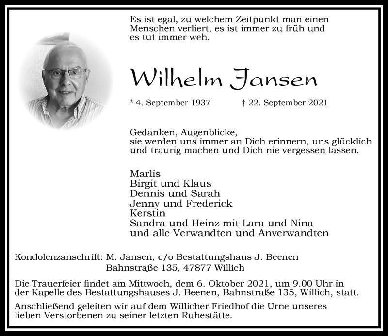 Traueranzeige für Wilhelm Jansen vom 02.10.2021 aus Rheinische Post