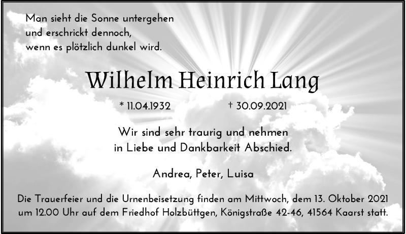 Traueranzeige für Wilhelm Heinrich Lang vom 09.10.2021 aus Rheinische Post
