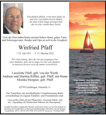 Traueranzeige von Winfried Pfaff von Rheinische Post