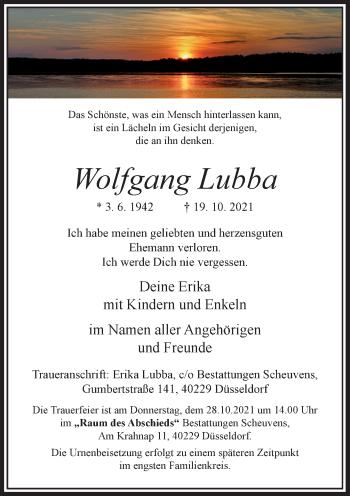 Traueranzeige von Wolfgang Lubba von Rheinische Post