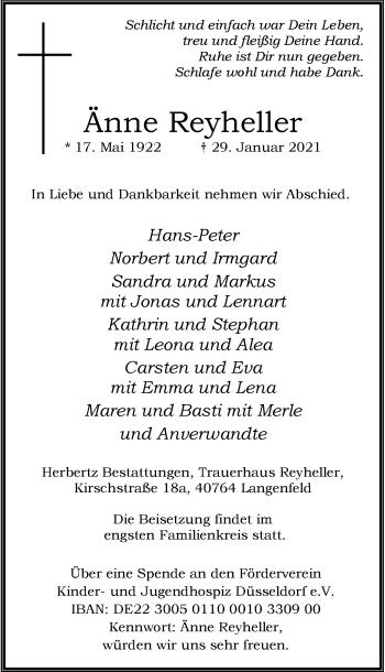 Traueranzeige von Änne Reyheller von Rheinische Post