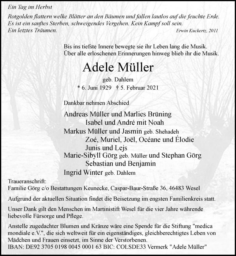 Traueranzeige für Adele Müller vom 09.02.2021 aus Rheinische Post