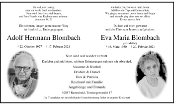 Traueranzeige von Adolf Hermann und Eva Maria Blombach von Rheinische Post