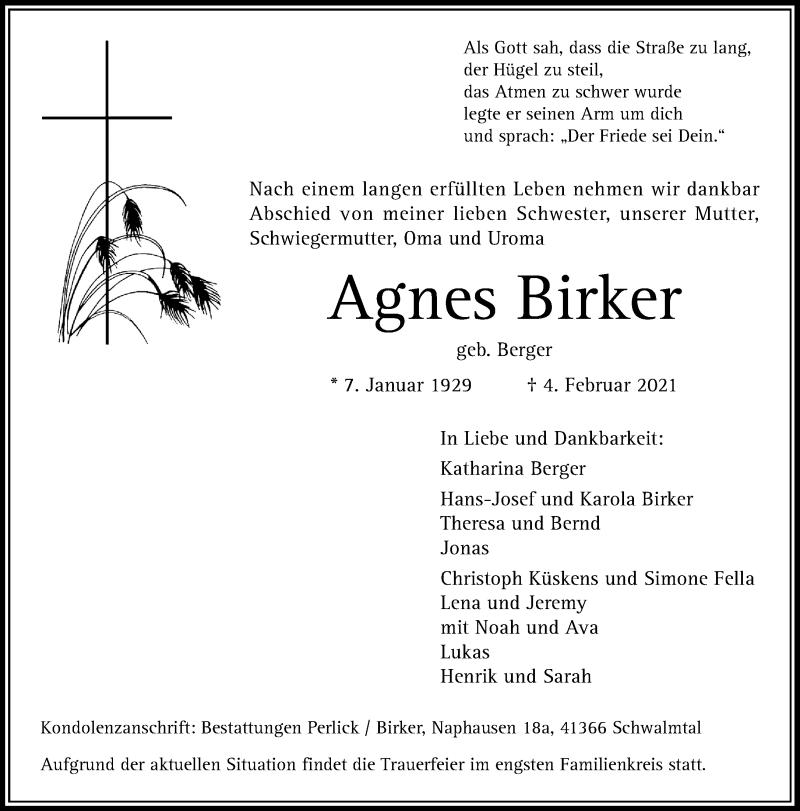 Traueranzeige für Agnes Birker vom 06.02.2021 aus Rheinische Post