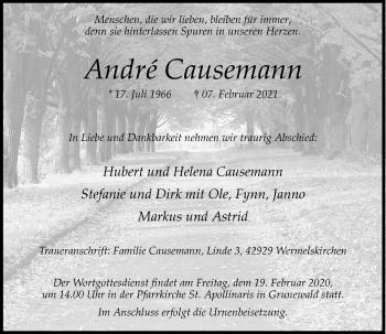 Traueranzeige von Andre Causemann von Rheinische Post