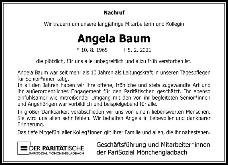 Traueranzeige für Angela Baum vom 13.02.2021 aus Rheinische Post
