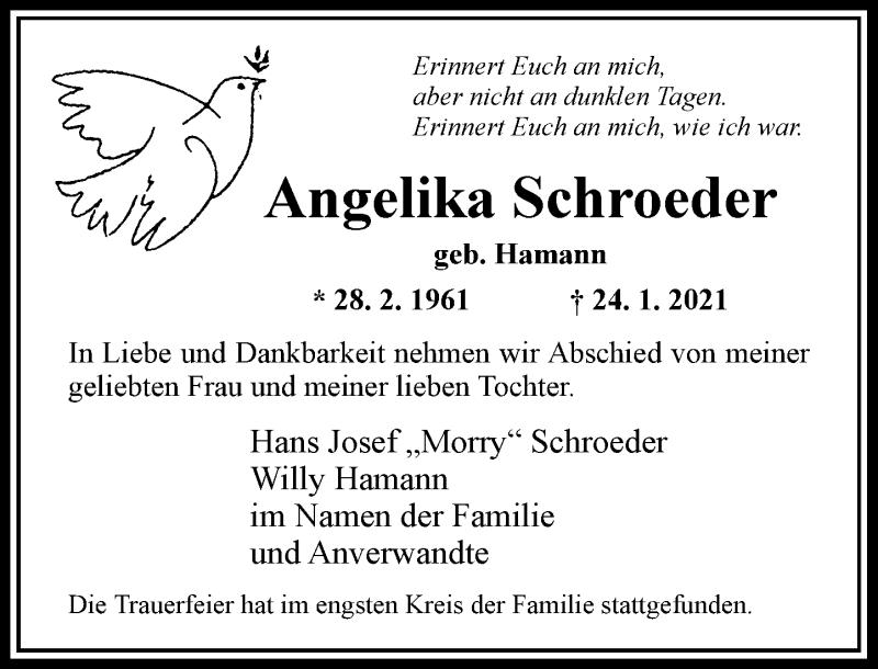 Traueranzeige für Angelika Schroeder vom 13.02.2021 aus Rheinische Post
