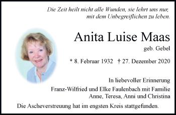 Traueranzeige von Anita Luise Maas von Rheinische Post