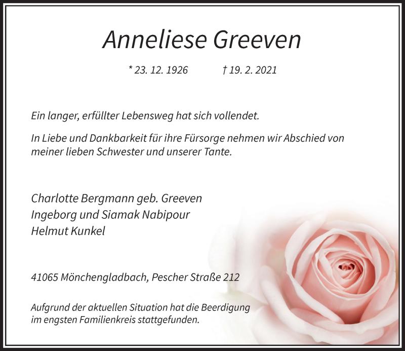 Traueranzeige für Anneliese Greeven vom 27.02.2021 aus Rheinische Post