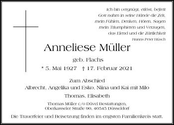 Traueranzeige von Anneliese Müller von Rheinische Post