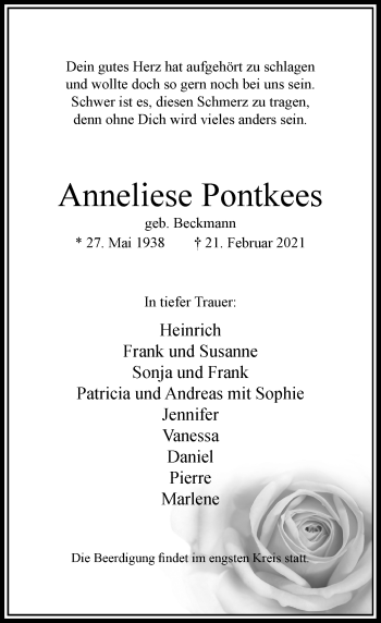 Traueranzeige von Anneliese Pontkees von Rheinische Post