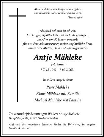 Traueranzeige von Antje Mähleke von Rheinische Post