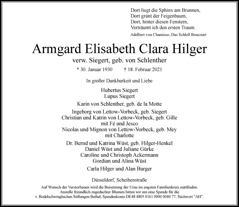 Traueranzeige für Armgard Elisabeth Clara Hilger vom 27.02.2021 aus Rheinische Post