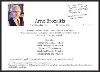 Traueranzeige von Arno Brozaitis von Rheinische Post