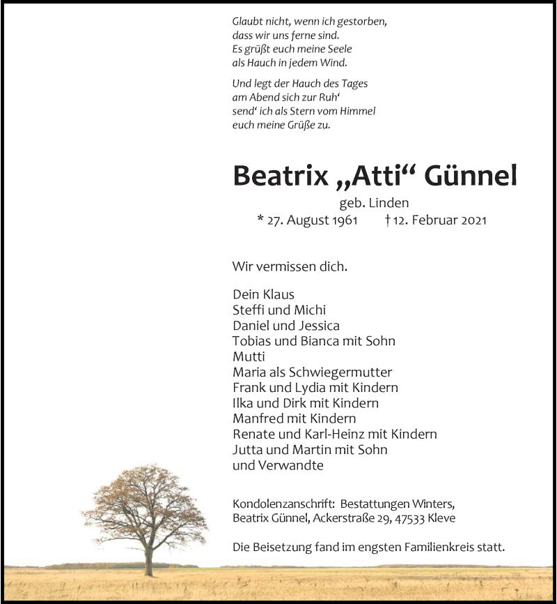Traueranzeige für Beatrix Günnel vom 23.02.2021 aus Rheinische Post