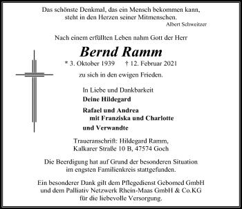 Traueranzeige von Bernd Ramm von Rheinische Post