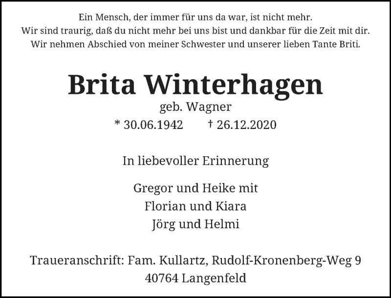 Traueranzeige für Brita Winterhagen vom 02.02.2021 aus Rheinische Post