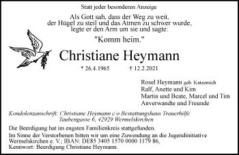 Traueranzeige von Christiane Heymann von Rheinische Post