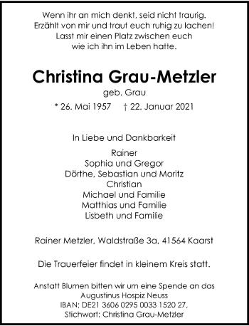 Traueranzeige von Christina Grau-Metzler von Rheinische Post