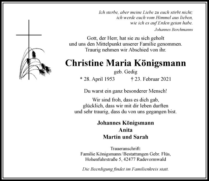 Traueranzeige für Christine Maria Königsmann vom 27.02.2021 aus Rheinische Post