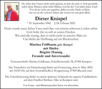 Traueranzeige von Dieter Knispel von Rheinische Post