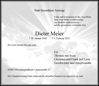 Traueranzeige von Dieter Meier von Rheinische Post