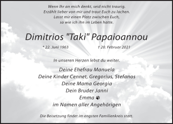 Traueranzeige von Dimitrios  Papaioannou von Rheinische Post