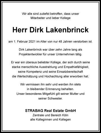 Traueranzeige von Dirk Lakenbrinck von Rheinische Post