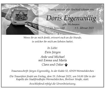 Traueranzeige von Doris Eigenwillig von Rheinische Post