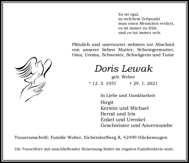 Traueranzeige für Doris Lewak vom 06.02.2021 aus Rheinische Post