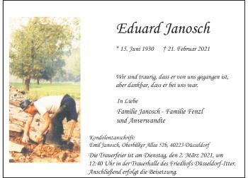 Traueranzeige von Eduard Janosch von Rheinische Post