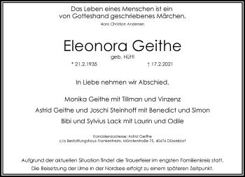 Traueranzeige von Eleonora Geithe von Rheinische Post