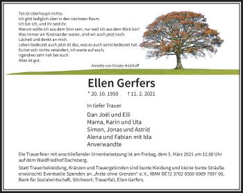 Traueranzeige von Ellen Gerfers von Rheinische Post