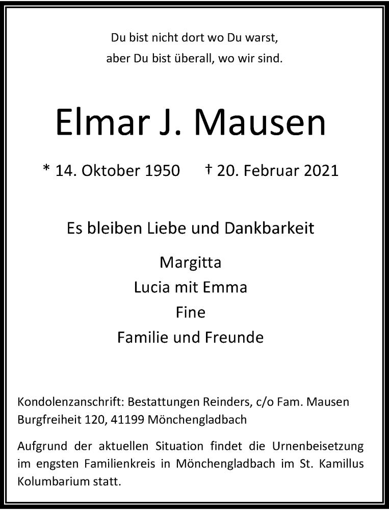 Traueranzeige für Elmar J. Mausen vom 27.02.2021 aus Rheinische Post