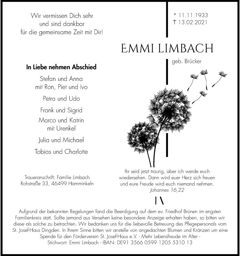 Traueranzeige für Emil Limbach vom 20.02.2021 aus Rheinische Post