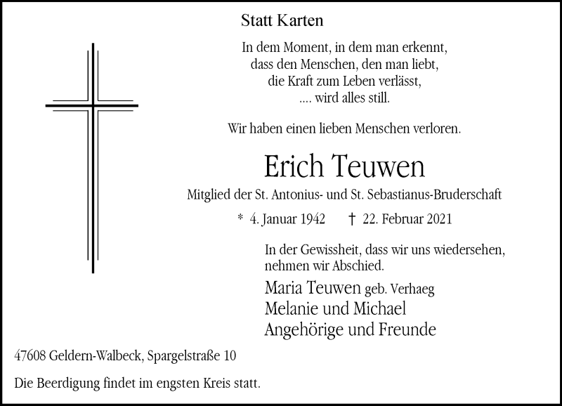Traueranzeige für Erich Teuwen vom 25.02.2021 aus Rheinische Post